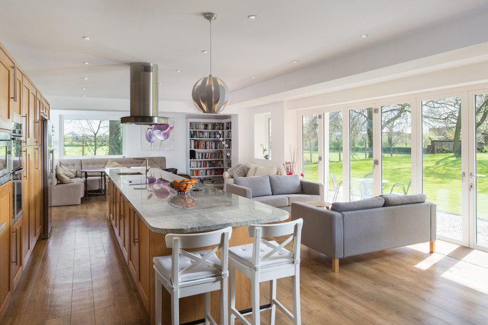 Kitchen with bifold doors to garden. Property marketing photograph