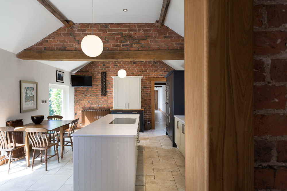 Kitchen photography with exposed brick