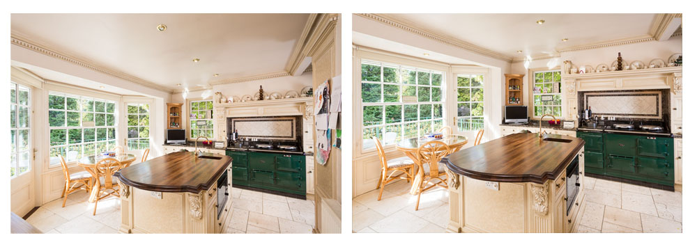 Comparison of wide and less wide kitchen photograph